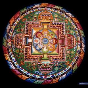 Mandala pirmajā lapā. Budistu smilšu mandala.  Buddhist sand mandala. Sidney Burris and Ly
